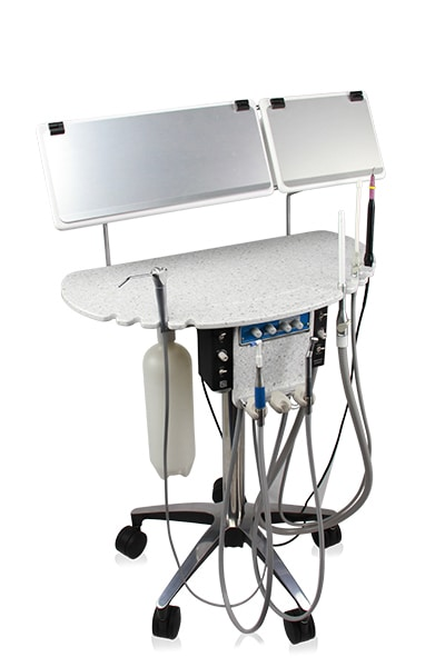 SRS Dental Delivery Workstation with consumable bin lids closed